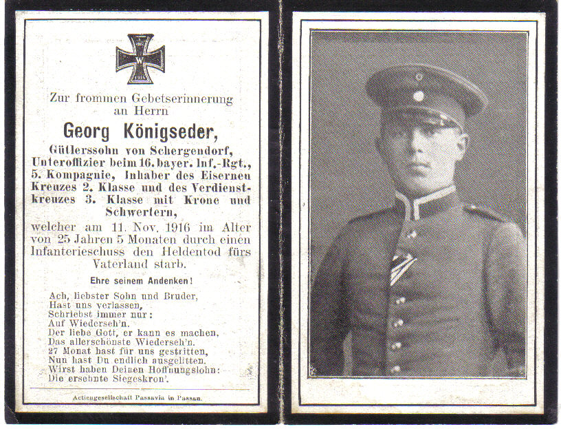Death Record on the Memorial Card of Georg Konigseder
