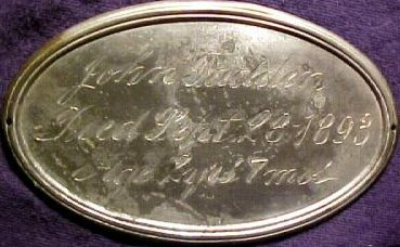 Birth & Death Record on the Coffin Plate of John Fadden 1891~1893 is a Free Genealogy Database