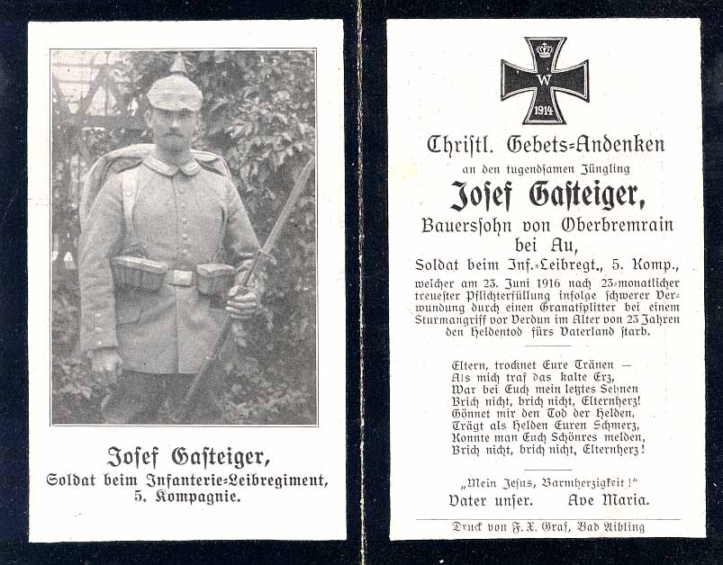 Death Record on the Memorial Card of Josef Gasteiger