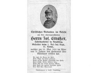 Death Record on the Memorial Card of Josef Straber