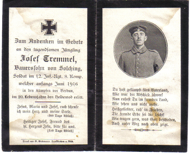 Death Record on the Memorial Card of Josef Tremmel
