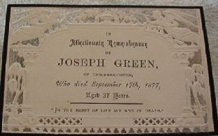Funeral  Card Joseph Green of Chilvers-Coton 1840 - 1877