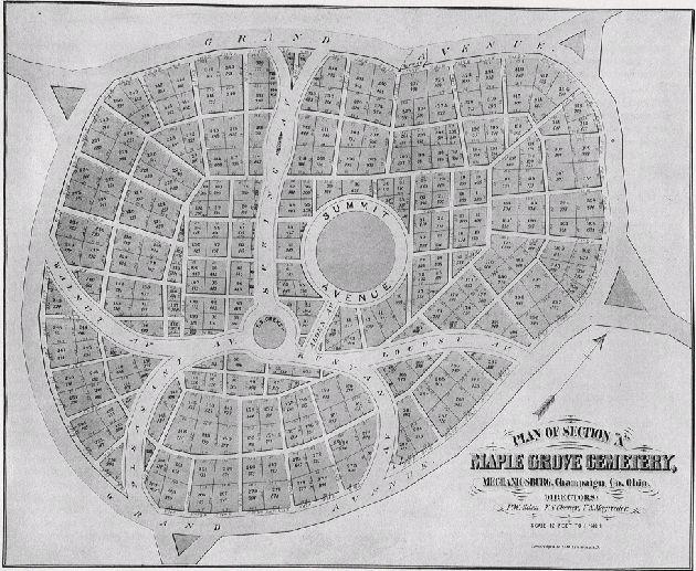 Mechanicsburg Ohio Map.Plan Of Maple Grove Cemetery Mechanicsburg Ohio