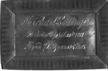 Birth & Death Record on the Coffin Plate of Michael Gollinger 1819~1893