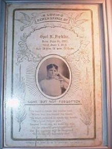 Funeral Card for Opal M. Perkins 1892 - 1914