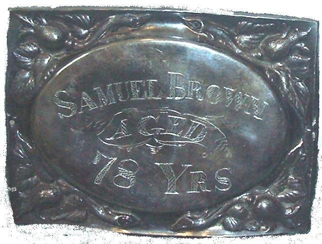 The Birth Record and Death Record on the Coffin Plate of Samuel Brown is Free Genealogy