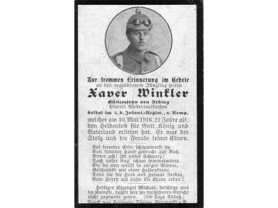 Death Record on the Memorial Card of Xaver Winkler